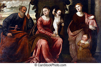 The Holy Family with St. Catherine of Alexandria - Holy...