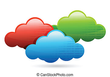 color clouds illustration design over a white background