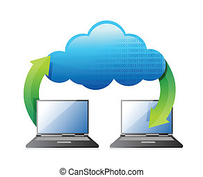 laptop transferring to cloud illustration design over a...