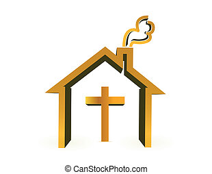 house and cross, religious concept