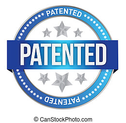 Patented intellectual property stamp illustration design...