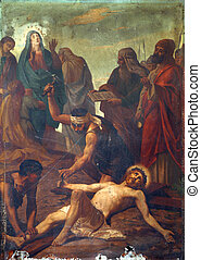 11th Stations of the Cross, Crucifixion: Jesus is nailed to...