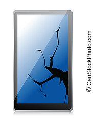 broken tablet illustration design over a white background
