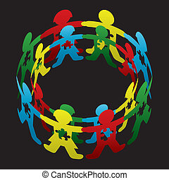 Child Autism Circle of Hope - Cut paper doll children...