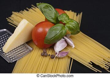 Spaghetti pasta, tomato, basil, garlic and cheese