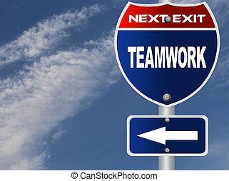 Teamwork road sign