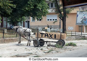 Horse-drawn taxi, Debar, Macedonia - Horse-drawn taxi in...