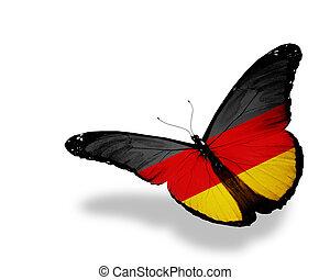 蝶, ドイツ語, 飛行, 隔離された, 旗, 背景, 白