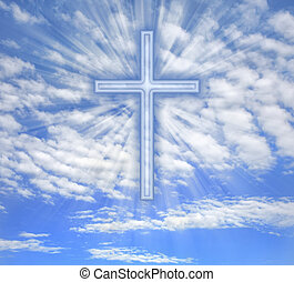 Christian cross with light beams over sky