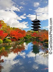 Toji Pagoda in Kyoto, Japan - The wooden tower of To-ji...