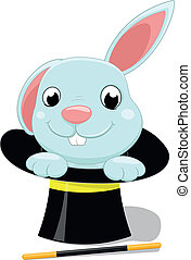 cute bunny with magician hat - vector illustration of cute...