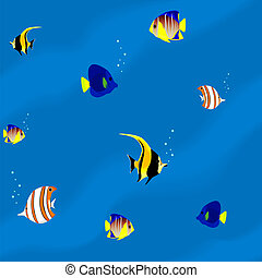 Seamless pattern aquarium with fish
