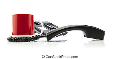 Office Concept with telephone and red mug on white background