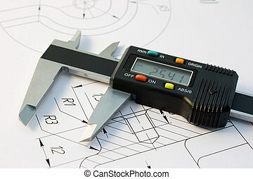 Calliper - The electronic calliper lies on the detail...