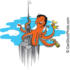 octopus king kong - a giant octopus illustrated on a similar...