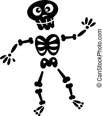 Black skeleton silhouette isolated on white - Funny Skeleton...
