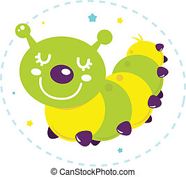 Cute cartoon caterpillar vector isolated on white - Funky...