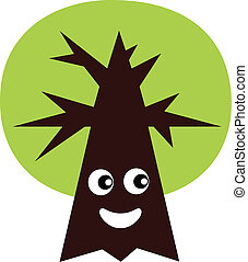 Green eco tree mascot isolated on white ( vector )