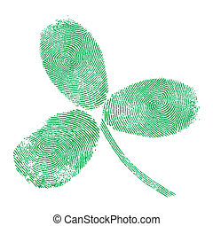 Shamrock fingerprint icon pattern celtic style, green...