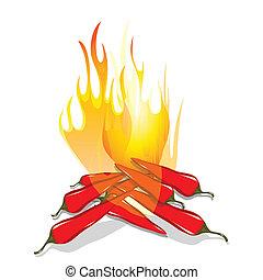 Hot chilli pepper in fire