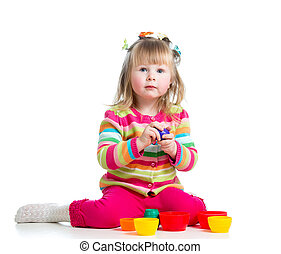 little girl kid playing , isolated over white