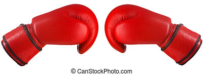 Pair of red leather boxing gloves isolated on white...
