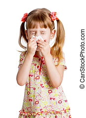 child girl wiping or cleaning nose with tissue isolated on...