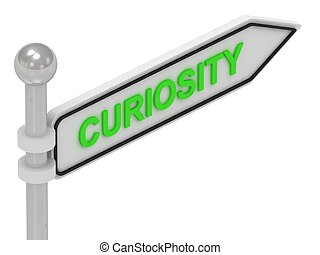 CURIOSITY word on arrow pointer on isolated white background