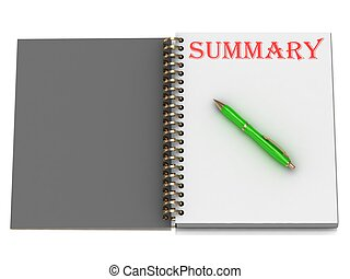 SUMMARY inscription on notebook page and the green handle....