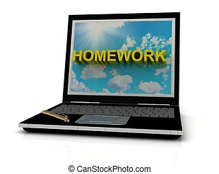 HOMEWORK sign on laptop screen of the yellow letters on a...