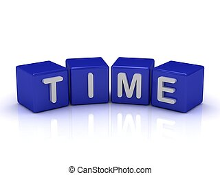 TIME word on blue cubes on an isolated white background