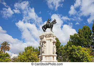 Monument on Plaza Nueva in Seville - Monument to King Saint...