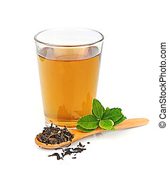 Cup tea and tea leaves on a white background
