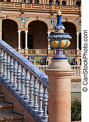 Azulejo Glazed Balustrade and Finial - Painted, glazed...