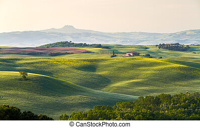 Tuscany landscape with farm, Val d'Orcia, Italy