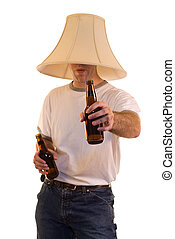 Party Time - A young man wearing a lamp shade on his head...
