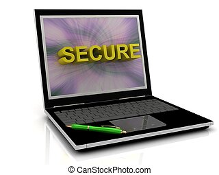 SECURE message on laptop screen in big letters. 3D...