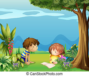 A boy with a girl reading in the garden