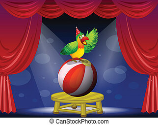 A colorful bird performing at the circus