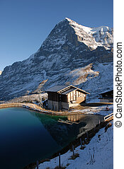 Eiger and small lake - Eiger north face with small lake.