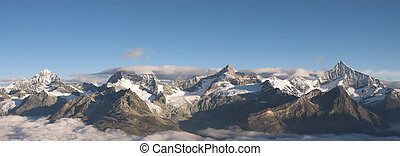 Mountain range above Zermatt in the morning View from...