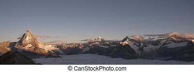 Panoramic view of the Matterhorn at sunrise.