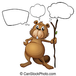 A beaver holding a stick with empty callouts - Illustration...
