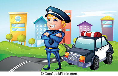 A smiling policeman at the road - Illustration of a smiling...