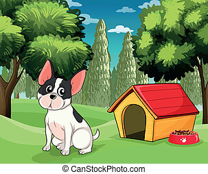 A dog near a doghouse with a dog food - Illustration of a...