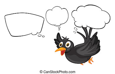 A black thinking bird - Illustration of a black thinking...