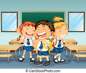 Three children smiling inside the classroom - Illustration...