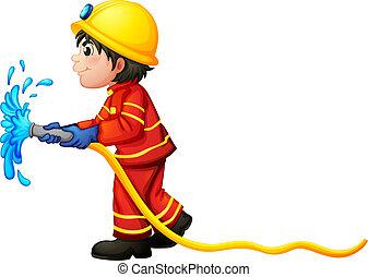 Um, bombeiro, segurando, água, mangueira