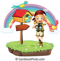 A girl holding a telescope with three birds - Illustration...