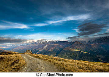 Wide angle view from Fiescheralp, Wallis, Switzerland